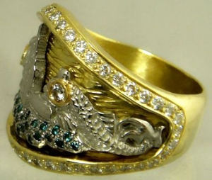 Picture of US Navy Submarine Dolphin Blue Diamond Ring