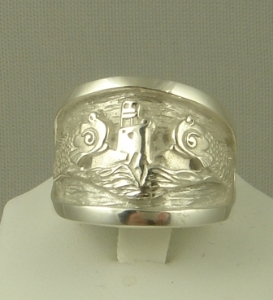 Picture of US Navy Submarine Dolphin Regulation Ring - Sterling