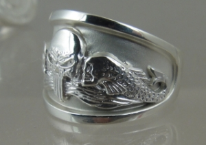 Picture of  US Navy Submarine Dolphin Skull Ring - Sterling