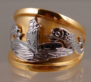 Picture of US Navy Licensed Submarine Dolphin Deep Wave Ring