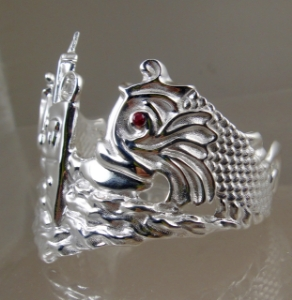 Picture of US Navy Submarine Dolphin Regulation Cuff Bracelet - Sterling