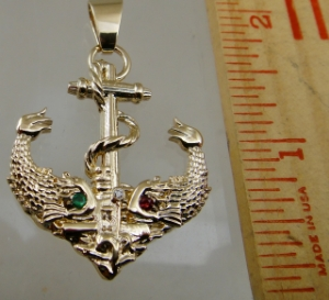 Picture of US Navy Licensed Submarine  Dolphin Anchor Pendant