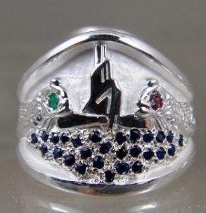 Picture of US Navy Submarine Dolphin Guppy Ring - Sterling