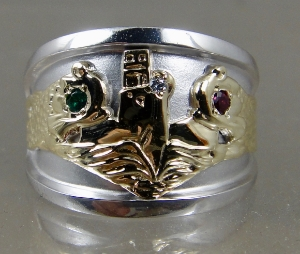 Picture of US Navy Licensed Submarine Dolphin Regulation Ring