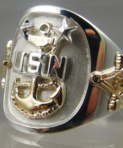 S Navy Master Chief Petty Officer Ring Solid Sterling Silver U