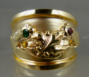 Picture of US Navy Submarine Dolphin Supply Officer Ring